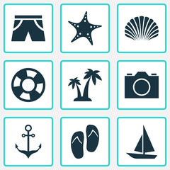 Summer Icons Set. Collection Of Video, Smelting, Beach Sandals Elements. Also Includes Symbols Such As Video, Shell, Photo.
