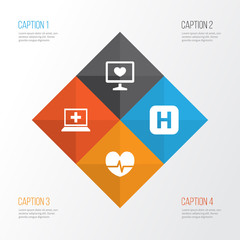 Medicine Icons Set. Collection Of Rhythm, Hospital, Diagnosis And Other Elements. Also Includes Symbols Such As Rhythm, Care, Computer.