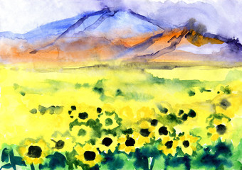 Wall Murals Yellow landscape with field of sunflowers and mountains