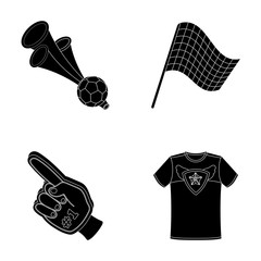 Pipe, uniform and other attributes of the fans.Fans set collection icons in black style vector symbol stock illustration web.