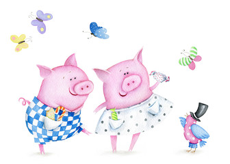 Funny Little Pigs. Watercolor