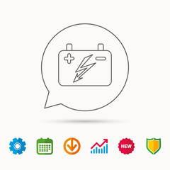 Accumulator icon. Electrical battery sign. Calendar, Graph chart and Cogwheel signs. Download and Shield web icons. Vector