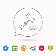 Auction hammer icon. Justice and law sign. Calendar, Graph chart and Cogwheel signs. Download and Shield web icons. Vector