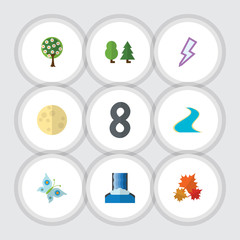 Flat Icon Nature Set Of Tree, Lightning, Forest And Other Vector Objects. Also Includes Cascade, Storm, Lightning Elements.