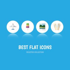 Flat Icon Season Set Of Aircraft, Beach Sandals , Reminders Vector Objects. Also Includes Sundae, Flip, Flop Elements.