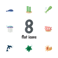 Flat Icon Sea Set Of Tortoise, Playful Fish, Seashell And Other Vector Objects. Also Includes Fish, Jellyfish, Octopus Elements.
