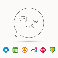 Dialog icon. Chat speech bubbles sign. Discussion messages symbol. Calendar, Graph chart and Cogwheel signs. Download and Shield web icons. Vector