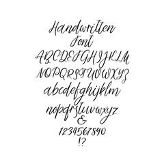 Handwritten alphabet letters. Calligraphy font. Vector