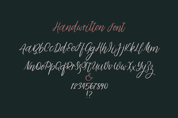 Calligraphy alphabet. Handwritten brush letters. Uppercase, lowercase, numbers. Vector font