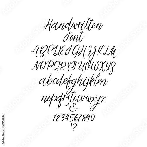Handwritten Alphabet Letters Calligraphy Font Vector