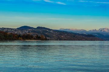 Lac Leman (Geneva Lake) in Lausanne, Switzerland. Sunset.