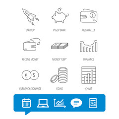 Piggy bank, cash money and startup rocket icons. Wallet, currency exchange and dollar usd linear signs. Chart, coins and dynamics icons. Report file, Graph chart and Chat speech bubble signs. Vector