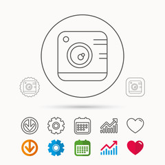 Vintage photo camera icon. Photography sign. Professional studio equipment symbol. Calendar, Graph chart and Cogwheel signs. Download and Heart love linear web icons. Vector