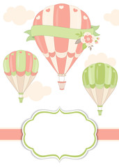 Vector Card Template with Air Balloons in Pastel Color. Vector Air Balloon.