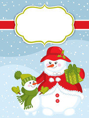 Vector Christmas and New Year card template with snowmen on snow background. Vector snowman.