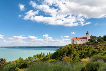 The beautiful Tihany Benedictian Abbey with the Lake Balaton, Hungary