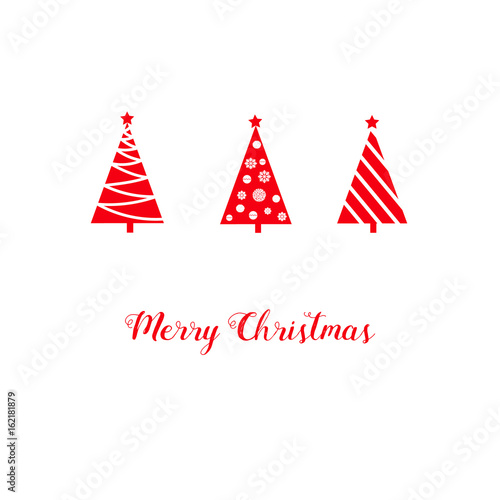 christmas greeting card red triangle graphic abstract fir trees