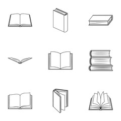 A set of pictures with books. Books, notebooks, studies. Books icon in set collection on outline style vector symbol stock illustration.