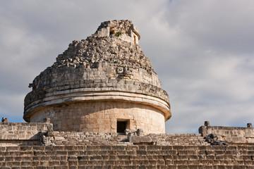 Maya observatory detail in Chichenitza, Yucatan, Mexico