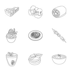 Pictures about vegetarianism. Vegetarian dishes, food vegetarian. Vegetables, fruits, herbs, mushrooms. Vegetarian dishes icon in set collection on outline style vector symbol stock illustration.