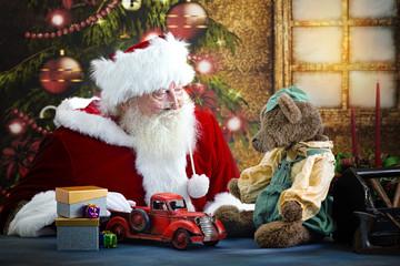 Santa with toys and bear