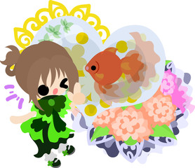 A cute little girl and a goldfish bowl