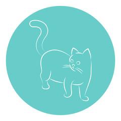 Line Art Vector Illustration of A Cat.