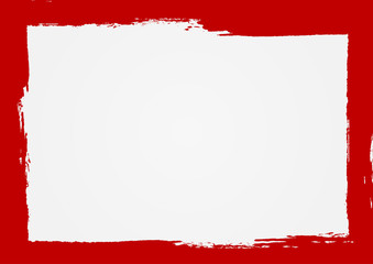 Rectangle background with a red frame. Painted by hand with a rough brush. Sketch, ink, grunge.