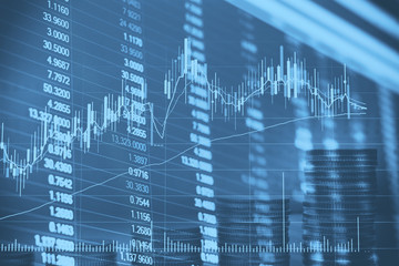 Abstract financial candlestick chart with line graph and stock numbers in Double exposure style background
