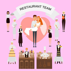 Wedding day in restaurant concept vector poster in flat style. Restaurant workers team organize wedding holiday. Big cake, champange, just married couple. Cartoon people characters