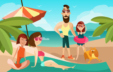 Family on a beach cartoon vector illustration. Summer vacation concept poster in cartoon style. People characters and dog