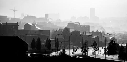 Heavy rain monochrome fog in Sheffield, UK