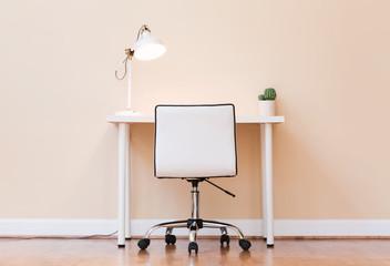Workstation desk in a large interior room