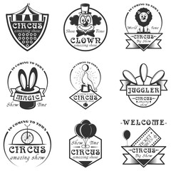 Vector set of circus isolated labels, logo and emblems. Black and white circus symbols and design elements.