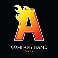A letter fire logo design.