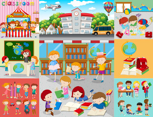 Different scenes with children at school