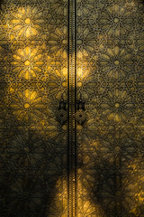 Close-up of an ornate golden door, Morocco