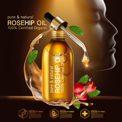 Rose hip oil natural cosmetic skin care
