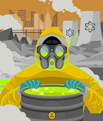 nuclear powerplant meltdown and man in biohazard radiation suit opening a toxic waste barrel