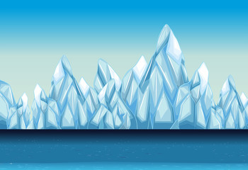 Background with glacier and ocean