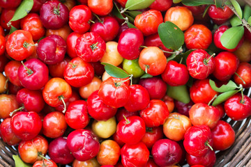 Organic Brazilian Acerola Cherry Food Background.