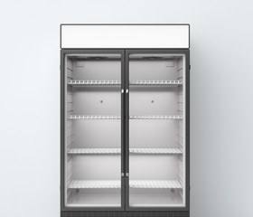 commercial fridge with transparent glass doors