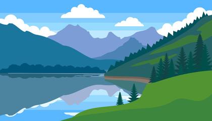 mountain lake beautiful landscape