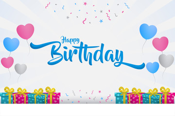 happy birthday with text in the middle, creative banner