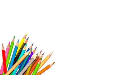 Color pencil and pencil with white background and crayon for isolate and cut out the background, Stationery, Color pencil and shavings