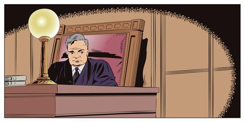 Judge in courtroom. Stock illustration.