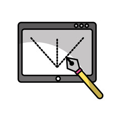 Tablet drawing work shadow vector illustration design graphic