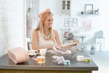 Young woman doing creative artwork