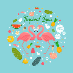 Flamingo couple in summer tropical love illustration