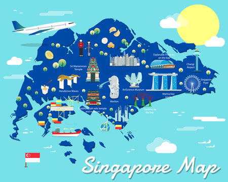 Singapore map with colorful landmarks illustration design